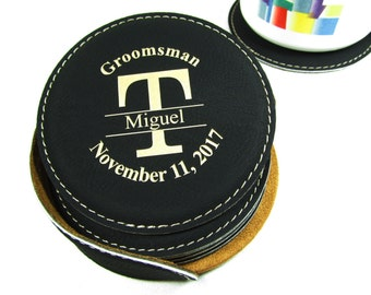 Personalized Leather Coaster Set Best Man Groomsman Groomsmen Gifts Custom Engraved Coaster Set Wedding Party Keepsake Gift Last Initial