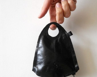 SALE Black Leather wallet - Finger wallet -