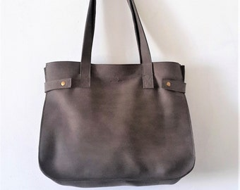 Leather Tote,oversize gray leather tote,Every day bag, Woman bag