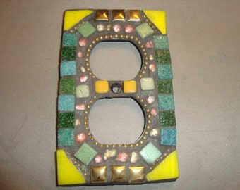 MOSAIC Electrical Outlet COVER , Wall Plate, Wall Art, Shades of Green, Yellow, Gold