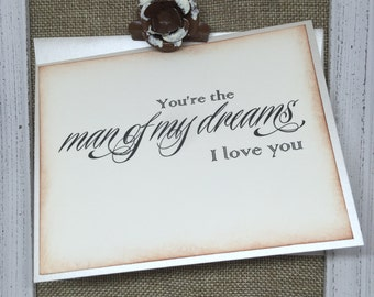You're the Man Of My Dreams Wedding Card, To My Groom Love Card, Wedding Stationery, Wedding Note Card