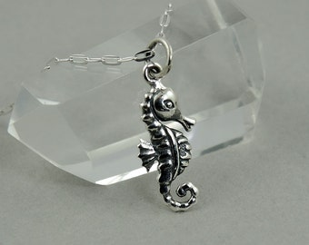 Sea Horse Necklace - Sterling Silver Tiny Charm Necklace, Girls Jewelry, Girls Necklace, Tiny Charms, Charm Bracelet Charms
