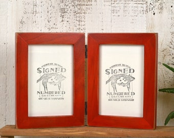 """Two 4x6"""" PORTRAIT Orientation Picture Frames in 1x1 Flat Style Hinged - Vintage Red Dye Finish IN STOCK Same Day Shipping - Double Frame 4x6"""