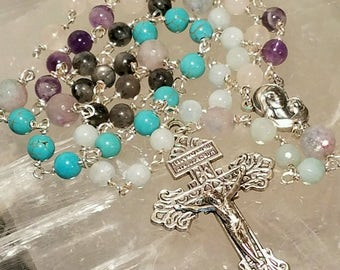 Gemstone Rosary, Agate, Amazonite, Amethyst, Aquamarine, Labradorite, Magnesite, and Rose Quartz, Pardon Crucifix, Mary & Child center medal