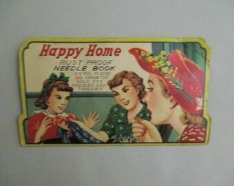 Vintage Needle Book Happy Home