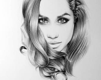 Meghan Markle Pencil Drawing Fine Art Portrait Signed Print