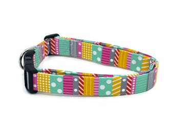 Fun Polka Dots and Stripes Teal Pink Yellow Gray and Red Dog Collar