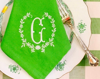Apple Green Monogram Napkins