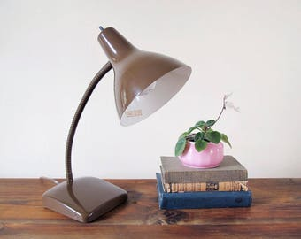 Vintage Mid Century Goose Neck Desk Lamp Brown Lamp