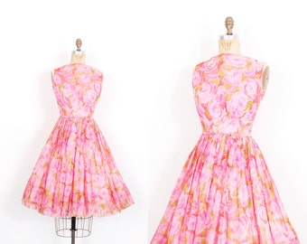 Vintage 1950s Dress / 50s Rose Print Silk Chiffon Party Dress / Pink ( small S )