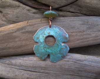 Copper Pendant Blue Green Patina Lampwork Bead