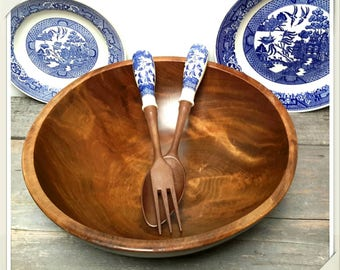 GORGEOUS Black Walnut Wood Salad Bowl made in Vermont and Vintage blue transferware Salad Servers from Japan Farmhouse Kitchen Decor