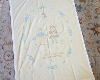 Vintage 1960s Baby Blanket / 50s 60s Jack and Jill Embroidered Blanket / Mommy Made, Soft Pale Yellow Corduroy / New Baby, Nursery Decor