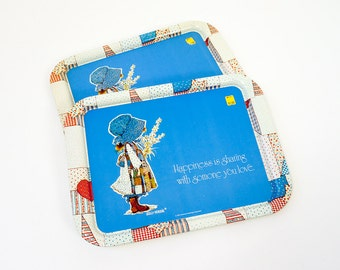 Vintage 1970s Tray / 1974 American Greeting Holly Hobbie Metal Tray NOS 4 Available / Happiness is Sharing with Someone You Love