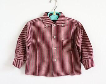 "Vintage 1950s Boys Size 3 Shirt / Health Tex Dress Shirt VGC / b26"" L13.5"" / Crisp Cotton Grey Burgundy Stripes Long Sleeves"