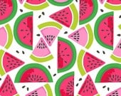 Tutti Frutti Tropical Fruit Watermelon Smash Seeds and Slices on White Fabric by Maude Asbury
