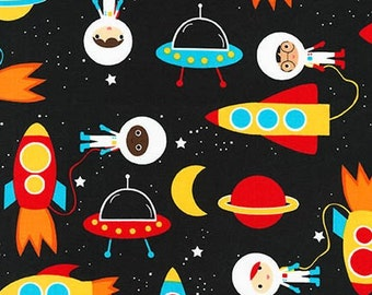 Space Explorers Rockets Spaceship Planets Milky Way Astronauts Moon and Stars Fabric RK
