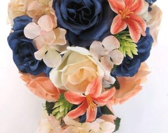 "Wedding Bouquets Bridal Silk flowers 17 Piece Package Bridal Party PEACH NAVY Blue CORAL Lily Wedding decoration Bride ""RosesandDreams"""