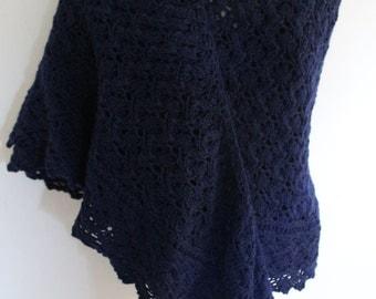 Navy Blue Wool Shawl