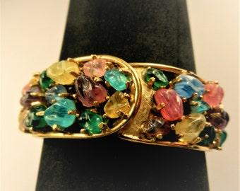 Art Glass Pastel Tones Bejeweled Watch Bracelet in Gold Florentine finish - Hinged clamper watch bracelet with Fruit Salad glass - art.613/4