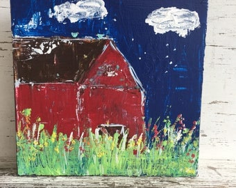 Red barn, 8 x 8 gallery wrapped canvas, original art, reds and blues, flowers, barn painting
