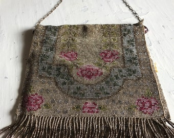 Amazing antique beaded bag French Steel cut beads excellent condition