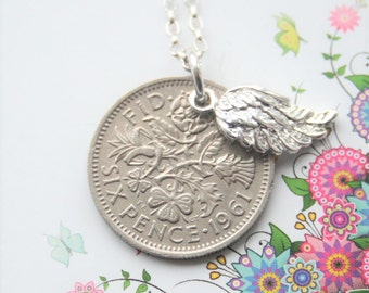 Coin necklace. Sixpence necklace. Angel wing necklace. Birth year necklace. Sterling chain. Birthday gift for woman. Remembrance necklace
