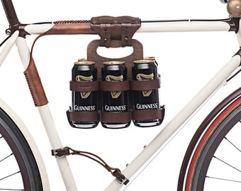 "Bike 6-Pack Holder - ""Bike Beer Combo"" - Leather Bicycle Beer Carrier with Set Discount"