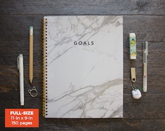 White Marble Goal Journal / 141 Days / Full-size / Stay Productive, Keep Your Goals In Mind