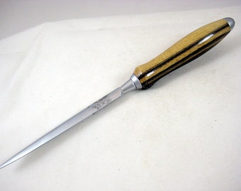 Snail Mail Letter Opener Brushed Chrome Handcrafted Two toned Wood Handle Office Desk