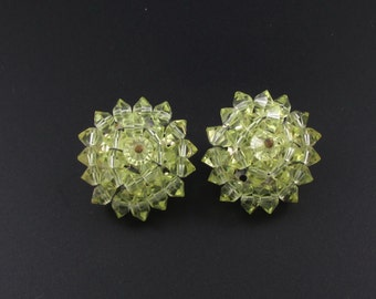Laguna Cluster Earrings, Laguna Crystal Earrings, Peridot Colored Earrings, Crystal Bead Earrings