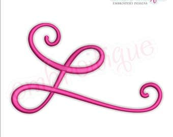 Curly Swirly Calligraphy Flourish Accent Embellishment 6  -Instant Download Machine Embroidery Design