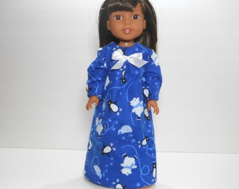 Designed for 14.5 inch dolls such as Wellie Wishers, Blue Polar Bear and Penguin Nightgown, 10-1447