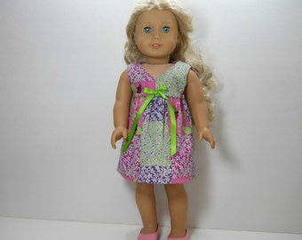 18 inch doll clothes made to fit dolls such as American Girl, Pink Purple Green Ladybug Dress, 02-1880