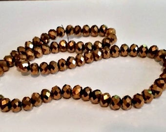 Metallic Bronze Czech Preciosa Rondelle Beads- SALE