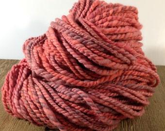 Handspun Yarn, Hand Dyed Yarn, Bulky Yarn, Merino Wool Yarn - Time - 2 Ply Yarn