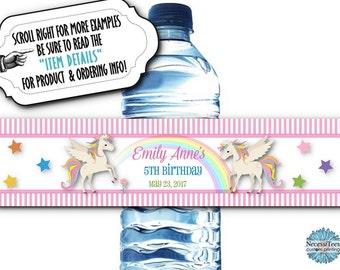 10 Waterproof Peel & Stick Water Bottle Labels, Unicorns, Rainbow, Stars, Pastel Colors, Baby Shower, Birthday Party