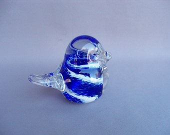 Hand Blown Art Glass Cobalt Blue & White Bird