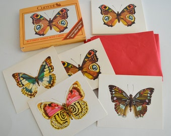 Vintage 1980's Current Butterfly Wings Note Cards Set of 12