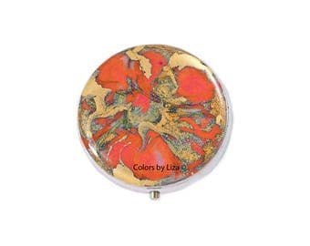 Round Metal Pill Box Hand Painted Enamel in Orange and Gold Quartz Inspired Design with Personalized and Color Options
