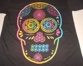 T-Shirt - Day of the Dead Skull (Rainbow on Black)
