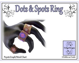 Beading Pattern, Tutorial, Double Peyote,Ring - DOTS and SPOTS