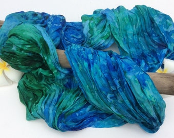 Hand Dyed Silk Infinity Scarf, Ice Dyed Silk Infinity Scarf, Blue, Green, Turquoise Scarf, Deep Ocean Infinity Scarf