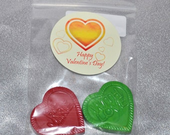 Hearts with Words Recycled Crayons and Heart Stickers, Total of 40 Crayons and 20 Stickers.  Set for 20 Kids.  Boy or Girl Party Favors.