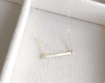 SALE - Tiny Bar Necklace in Gold - Little Bar Pendant Suspended - Dainty Gold Jewelry - Minimalist - Perfect Gift - thelovelyraindrop