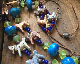 Vintage folk art animals and trade beads tribal necklace, African jewelry, animal jewelry, bohemian necklace, spirit animals, safari animals