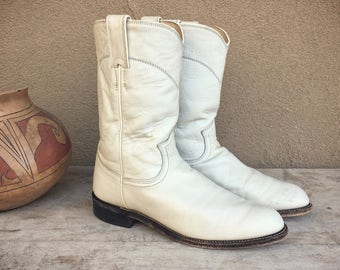 Vintage off white Justin roper cowboy boot Women size 6.5 C (fits like 7.5) cowgirl boots, wedding boots, Womens boots, leather boot Western