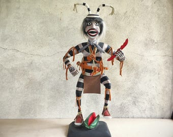 "Vintage 21"" tall wooden Koshare clown kachina, Hopi kachina, Native American Indian carving, pueblo clown, sacred clown, Southwestern decor"