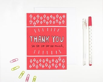 Pink Thank You Card Bright Pattern