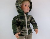 BOXING WEEK SALE Camo Hoodie Jacket for Boy Doll Fits American Girl 18 inch Doll  Fleece HoodieToys Girl
